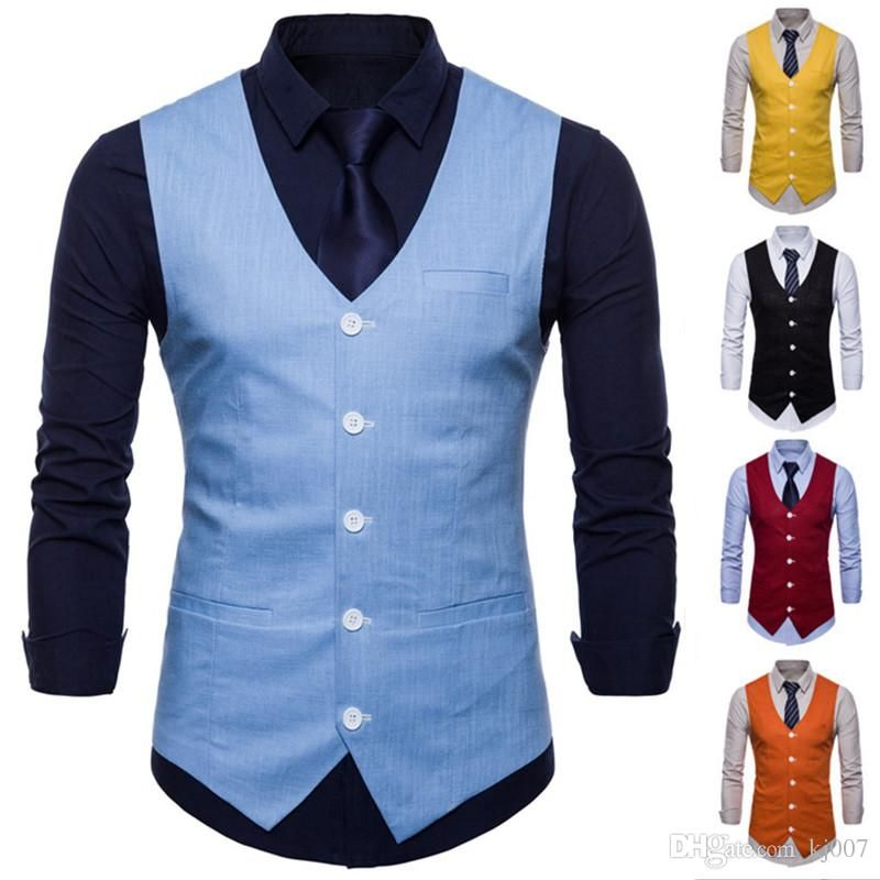 2019 wholesale double breasted men solid color slim fit