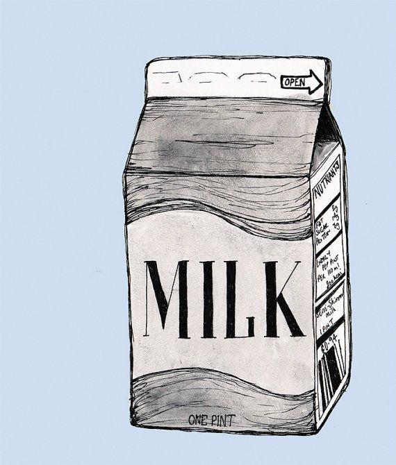 Vintage Milk Carton Retro - Illustration A6 Fine Art Print Postcard ...