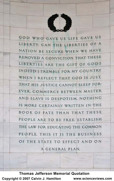 Composite of Jefferson quotes on the wall of the Jefferson