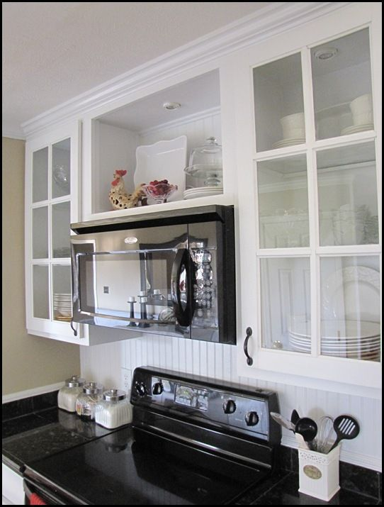 Open Cabinet Above Microwave  Idea: I Might Take Off The Doors From The Cabinet  Above My Stove To Open Up The Space