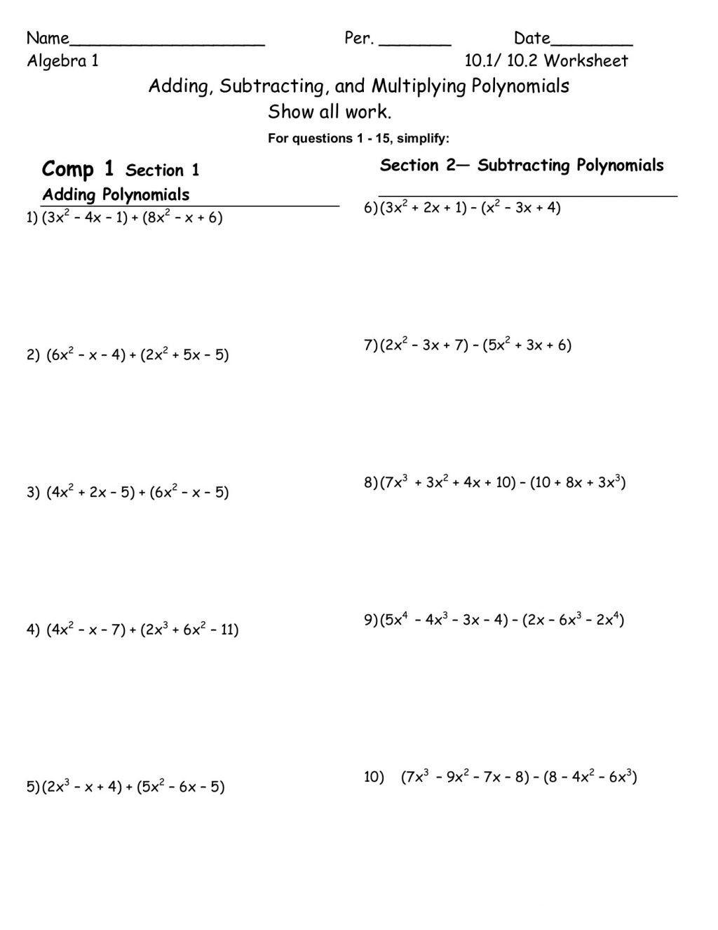Subtracting Polynomials Worksheet