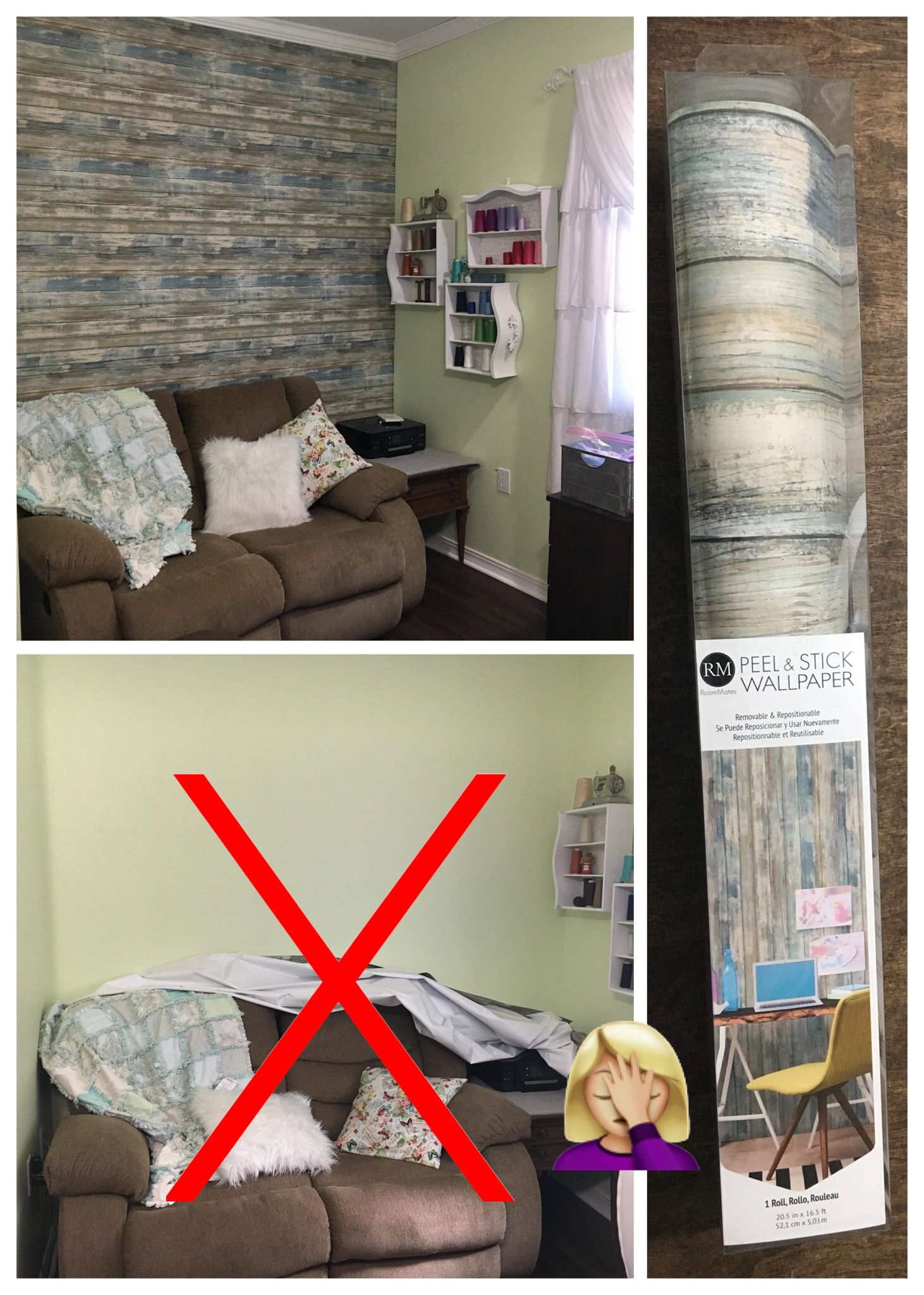 Lol Shabby Chic Sewing Craft Room Peal Stick Wood Wall Paper Was Pretty For 3 Days Then It All Fel Stick On Wood Wall My Sewing Room Peel And Stick Wallpaper