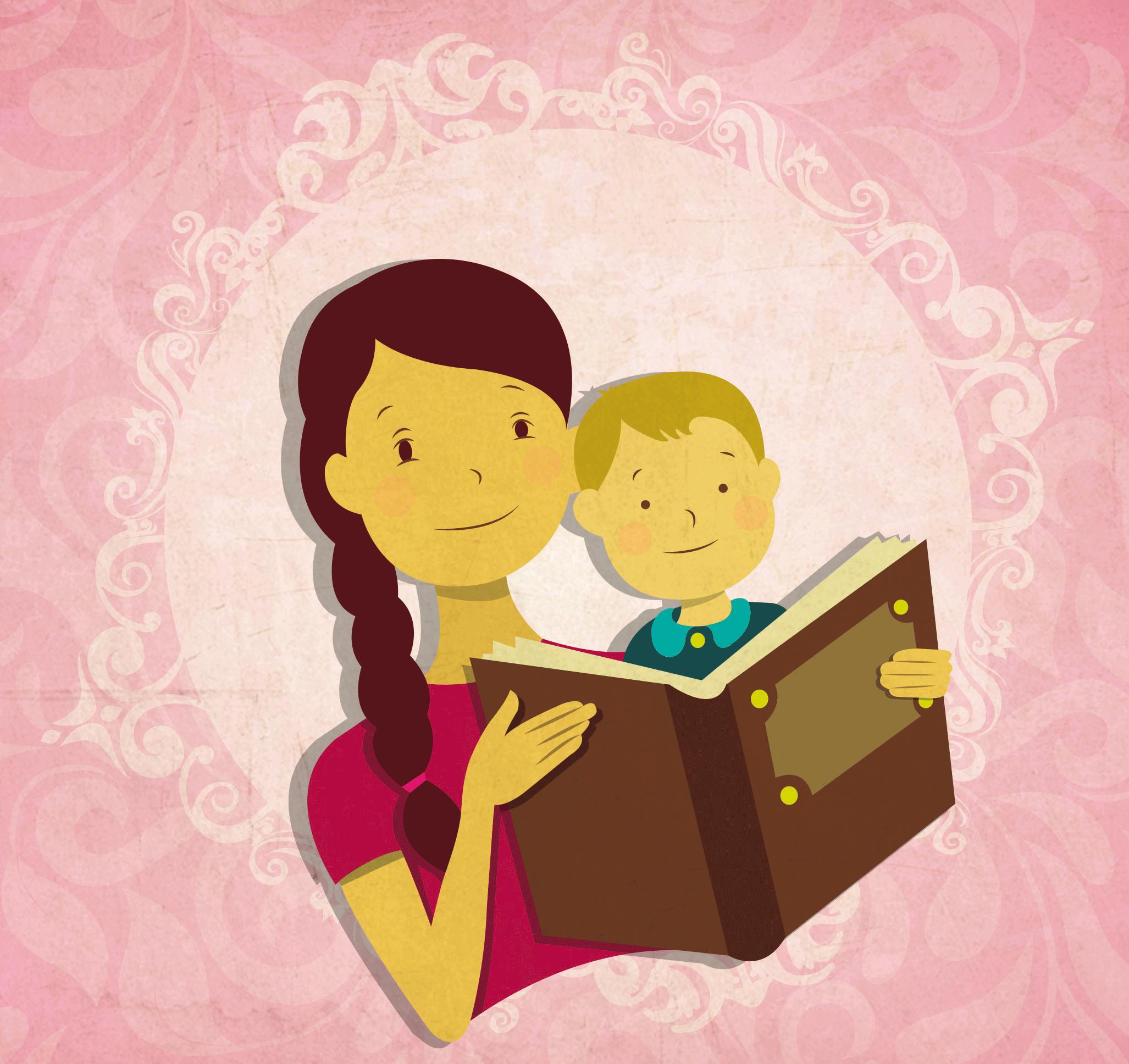 Mama Joven E Hijo Leyendo Ilustracion Vectorial Para Publicidad Siete Comunicacion Visual S A Ninos Leyendo Tareas Para Ninos Ilustraciones