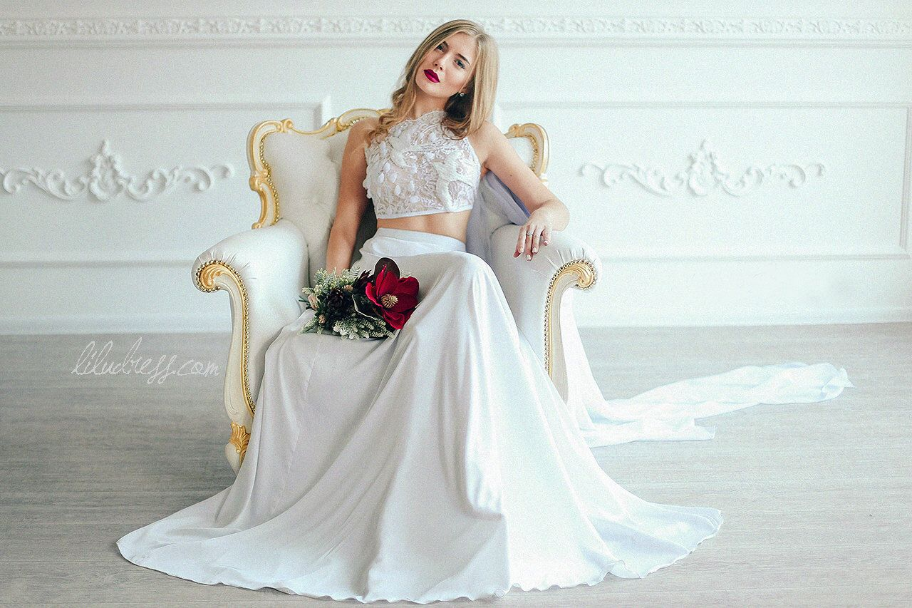 Long white silk skirt with the lace embroidered top and chiffon bow ...