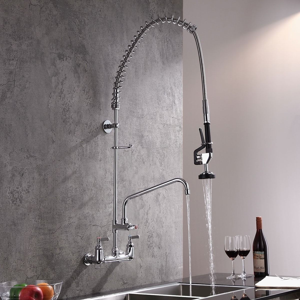 Single Handle Chrome Kitchen Sink Faucet Pull Down Spray Spring Taps Solid Brass