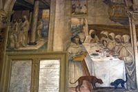 Arte in Toscana   Il Sodoma (Giovanni Antonio Bazzi)   Ciclo di affreschi nel Chiostro Grande dell'Abbazia di Monte Oliveto Maggiore   La Storie di san Benedetto di Monte Oliveto Maggiore   Podere Santa Pia, Holiday house in the south of Tuscany