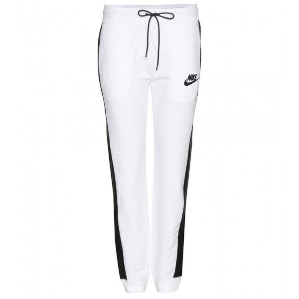 0120fc94d Nike Perforated Jogger Track Pants ($125) ❤ liked on Polyvore featuring  activewear, activewear pants, bottoms, joggers, pants, nike, white, nike  sportswear ...