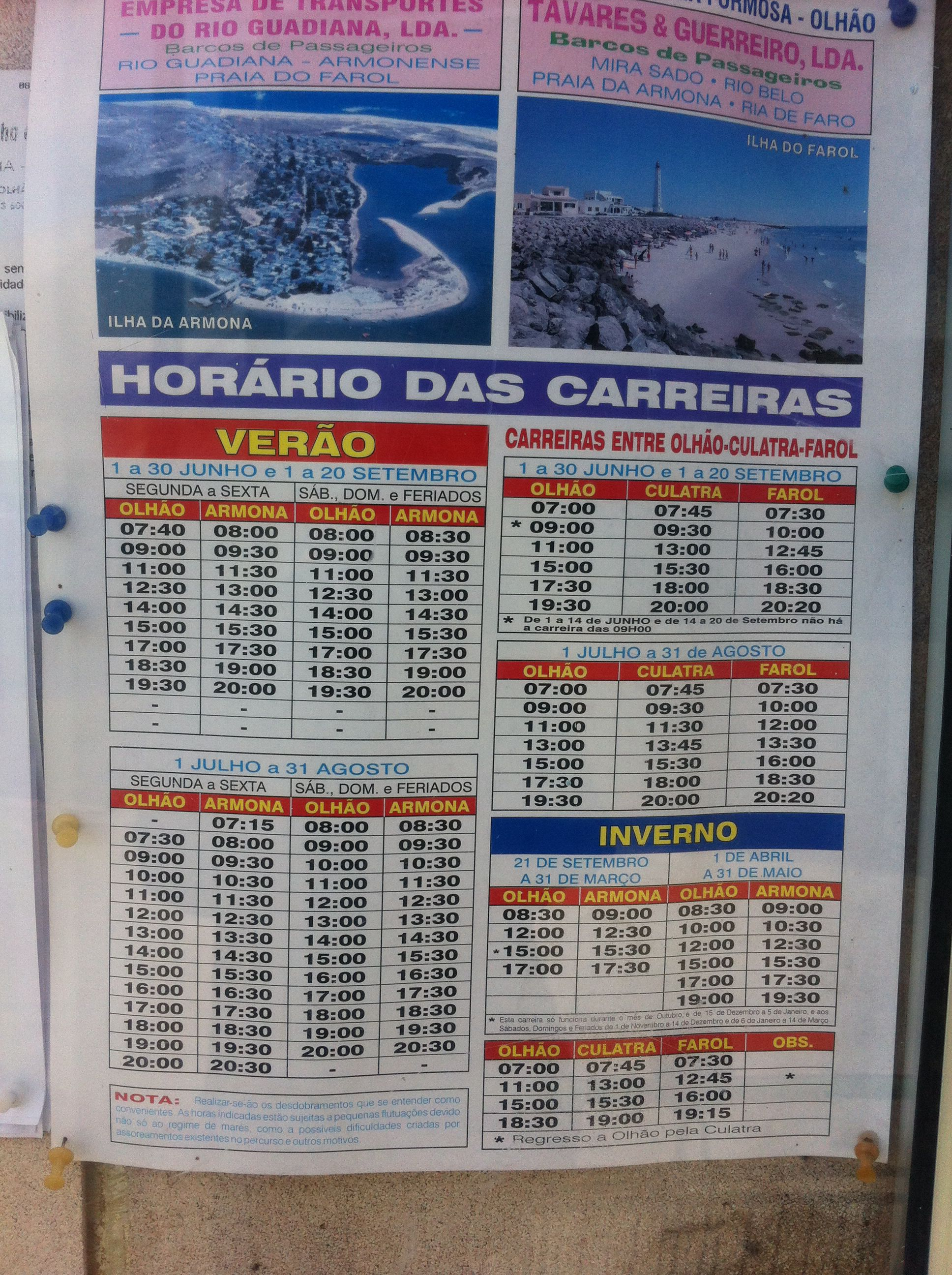 Olhao - the ferry timetable to Armona and Culatra