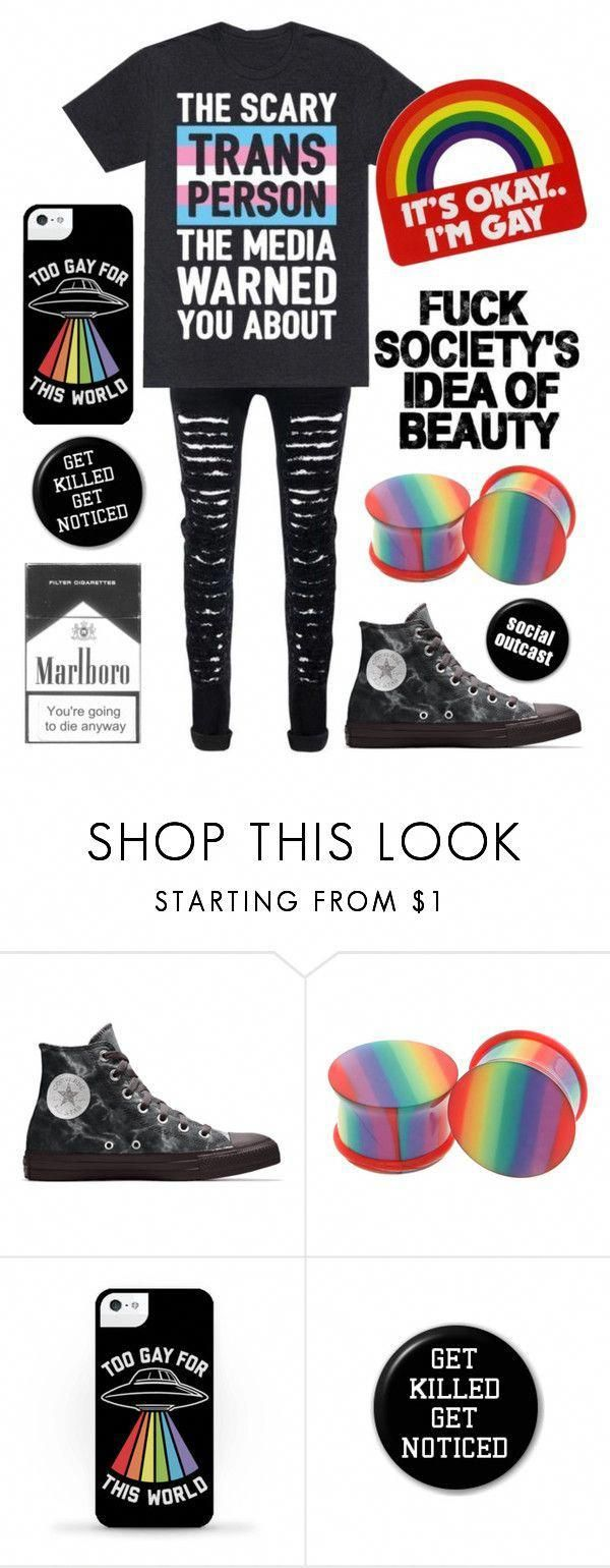 Happy Pride Month by the-uninportant-emo ❤ liked on Polyvore featuring Converse, Hot Topic, lgbt, lgbtq and lgbtqiap #EmoFashion #emofashion