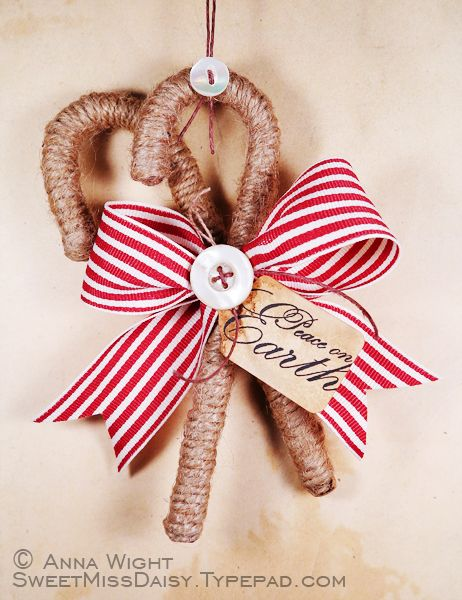 Twine wrapped candy canes with a bow to make pinterest candy twine wrapped candy canes with a bow publicscrutiny Choice Image