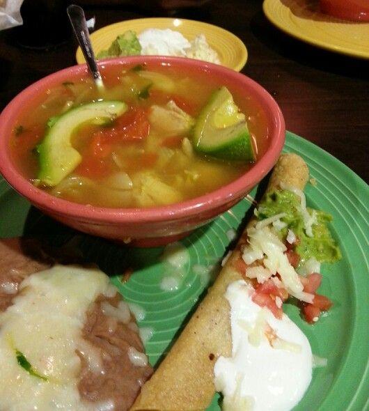 Chicken Tortilla Soup, Flauta and Refried Beans - Las Palapas - New ...