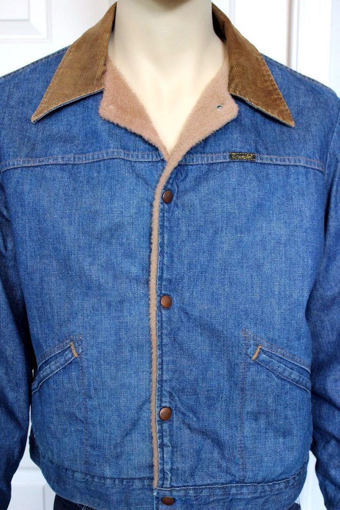 Vintage Wrangler Men S Faux Fur Lined Denim Coat Jacket With Corduroy Collar 44 Denim Coat Jacket Denim Coat Vintage Wrangler