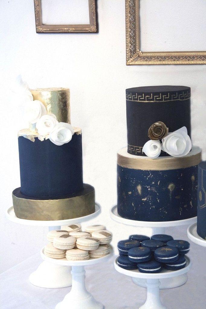 Wedding Cake Inspiration Black Gold And Navy Dessert Tablescape