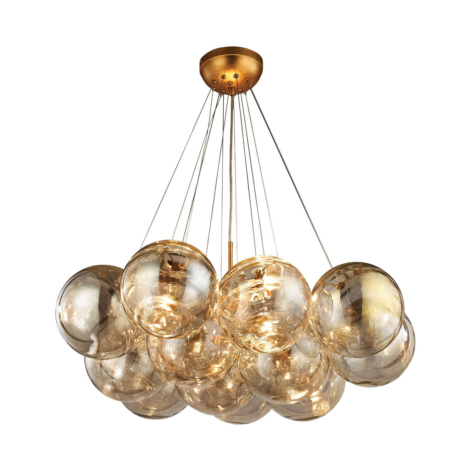 Three Light Chandelier - Cielo Collection - Antique Gold Leaf (also available ORB)