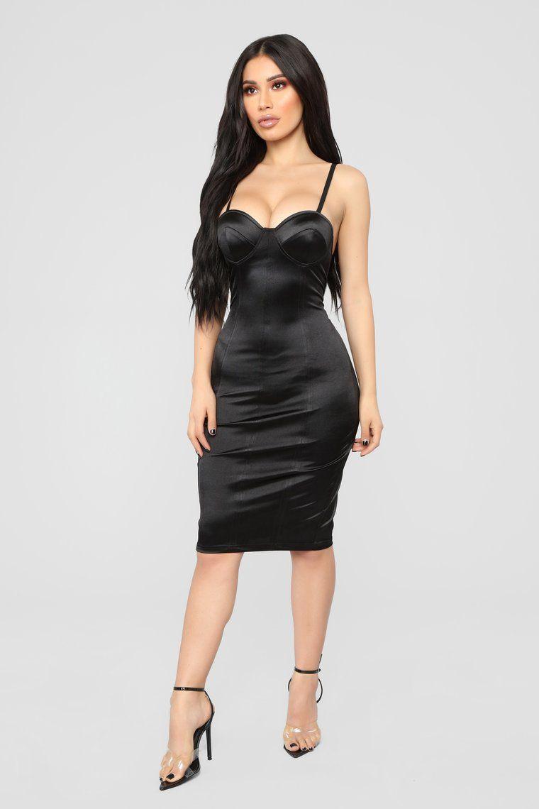 b31e3ab386 Lisandra Satin Dress - Black in 2019