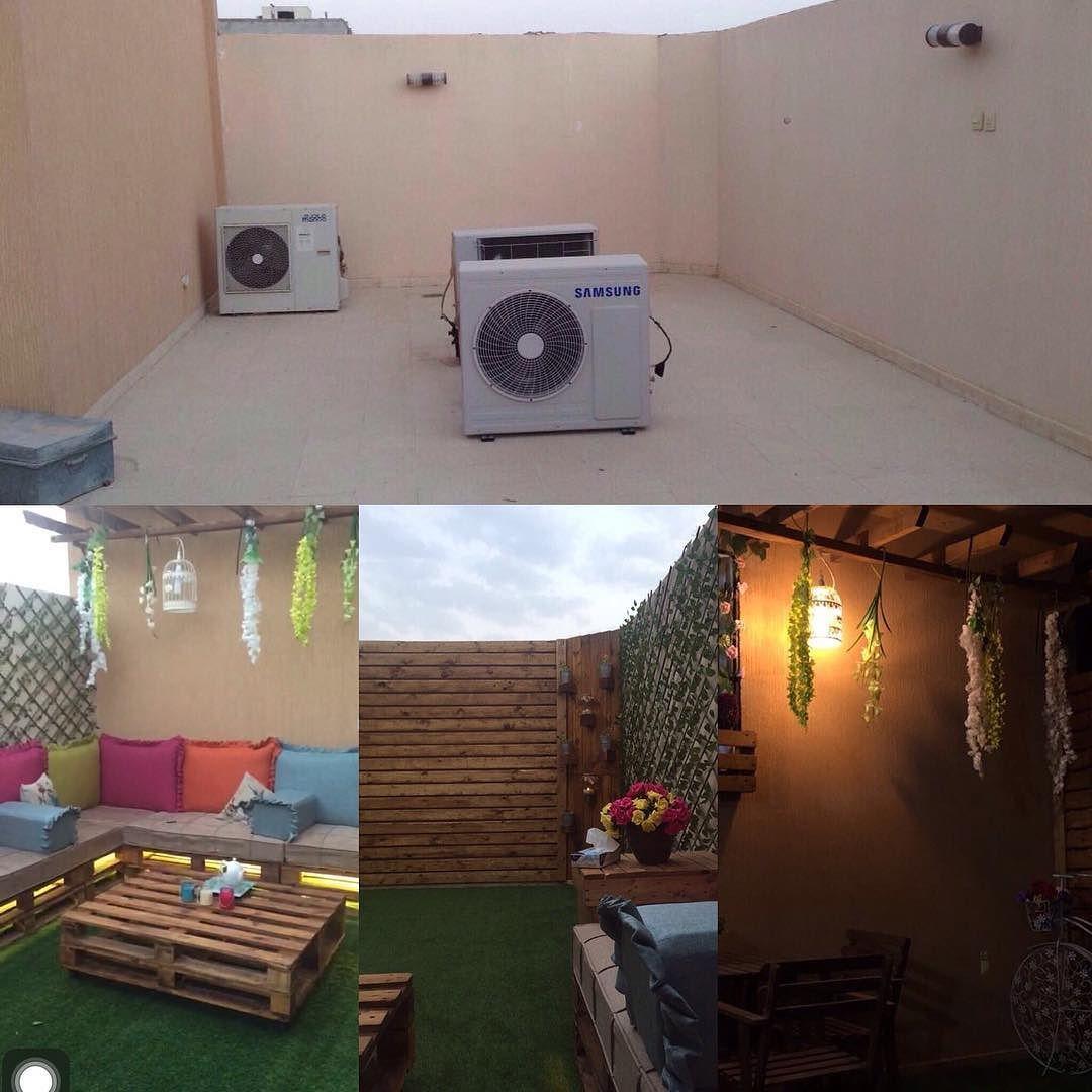 سطح منزل في الرياض قام صاحبه Oo Ii199 بتحويله من مساحة مهملة إلى جلسة مفتوحة ومتنفس للعائلة الله يهنيه Pallet Projects Furniture Pallet Projects House
