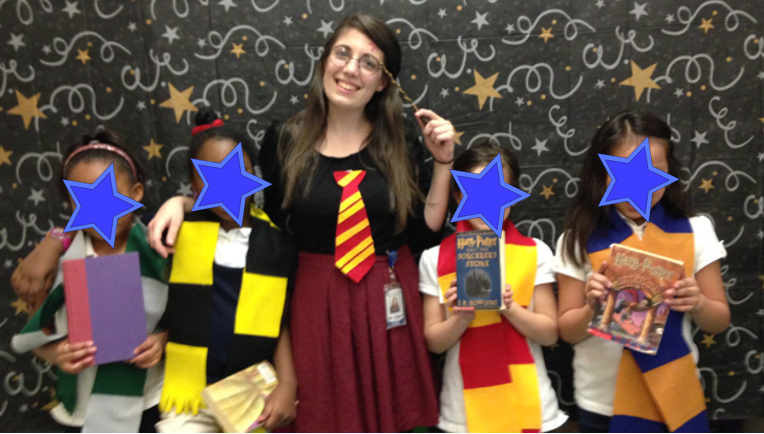 "Harry Potter Book Club Sorting Ceremony! Once my Harry Potter book club read Chapter 7 of Harry Potter and the Sorcerer's Stone entitled ""The Sorting Hat,"" I held a class-wide sorting ceremony. Each of the four girls in the book club became leaders for one of the Hogwarts houses. Once all of the students in the class were sorted, we rearranged classroom desks so that the each house had their own location in the classroom. For the remainder of the quarter the four houses earned points in…"