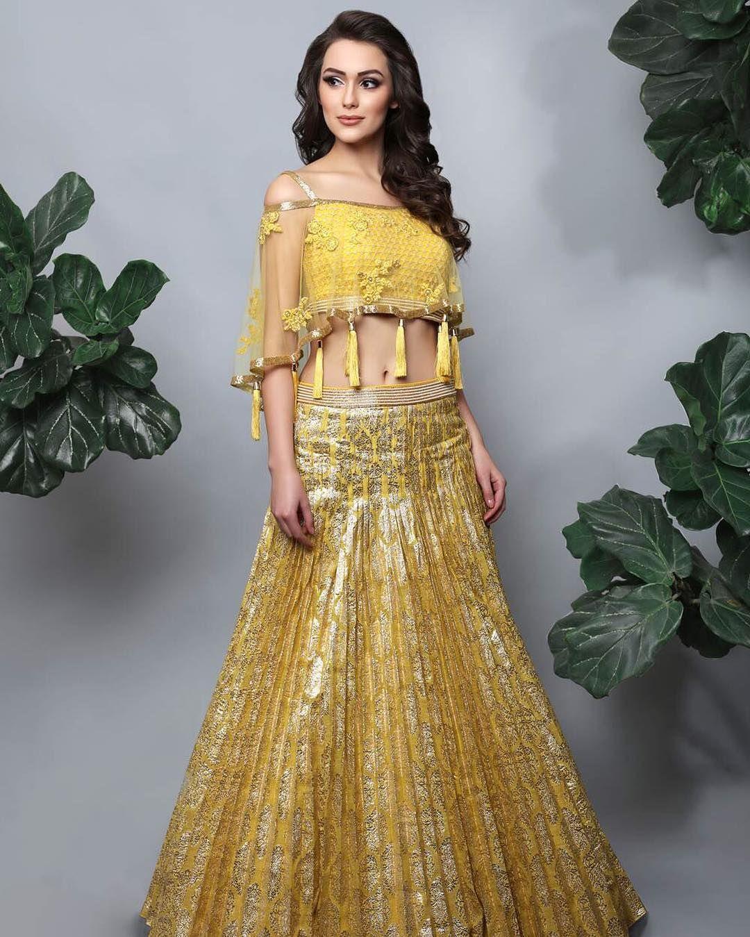 b79b650b31 10 Pretty Yellow Lehengas For Your Haldi Outfit Inspiration [2019 ...