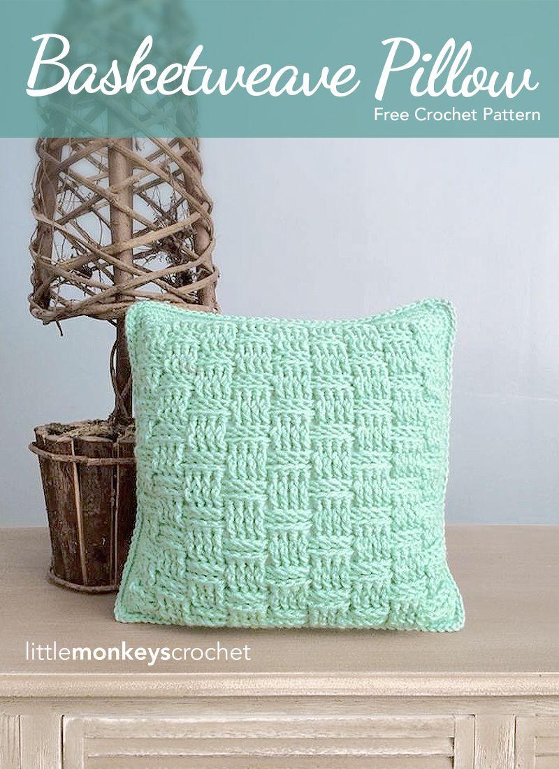 Basketweave Throw Pillow (Free Pattern) | Pinterest | Tejido ...