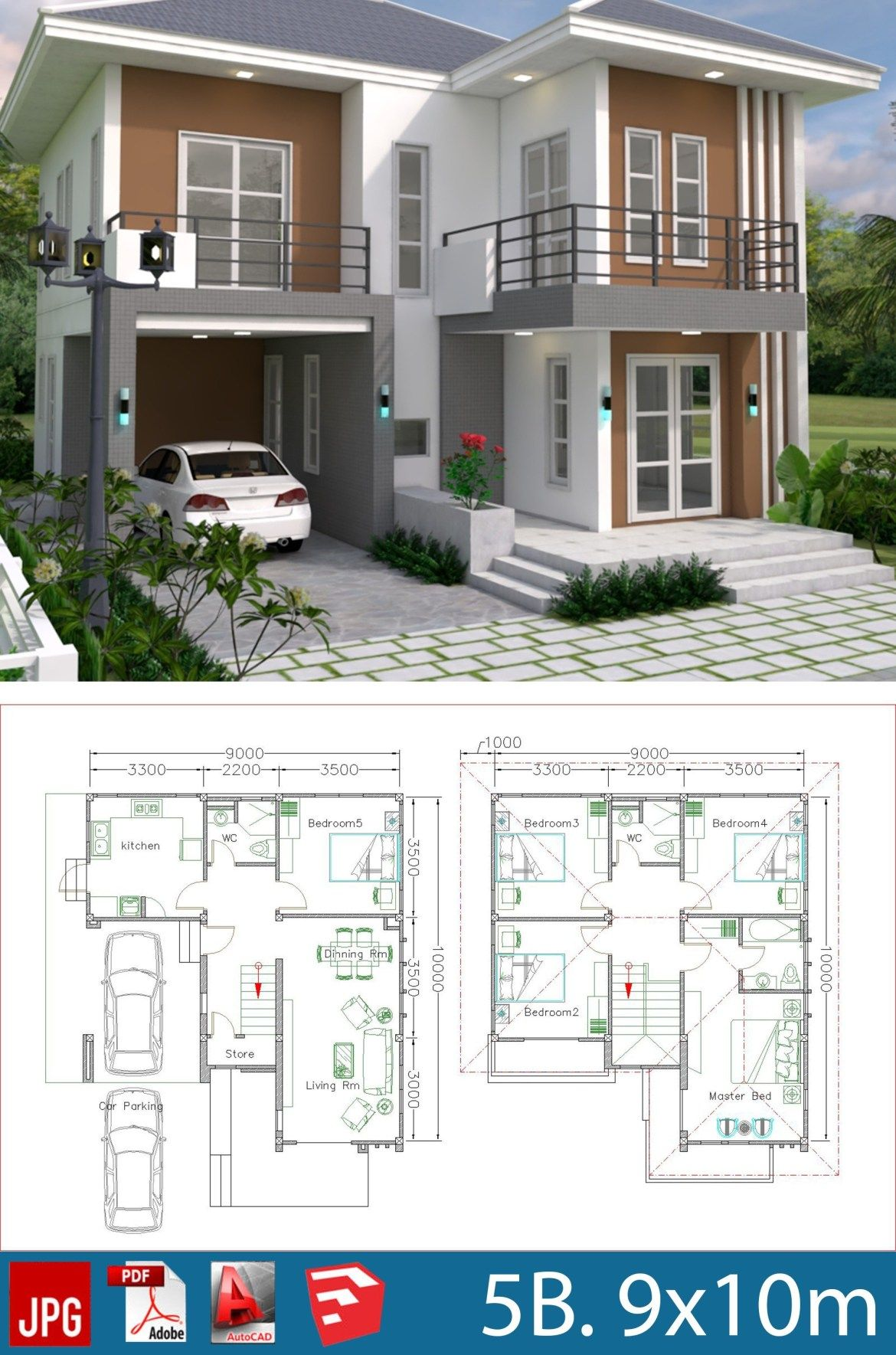 House Plans Design 9x10m With 5 Bedrooms Samphoas Plansearch Duplex House Plans Model House Plan Duplex House Design