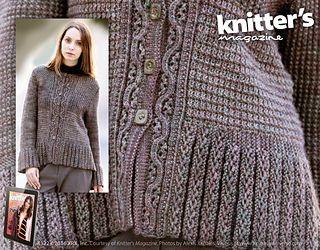 This sweater came about completely because of the yarn. I bought it at STITCHES, where the folks from String Theory insisted on adding a skein of black because it looked so good with the grey mix. When I opened up all the skeins, I saw they were very different shades one from another. So this sweater was born with textured stitches that changed with each new skein of yarn, making a feature of the differences.