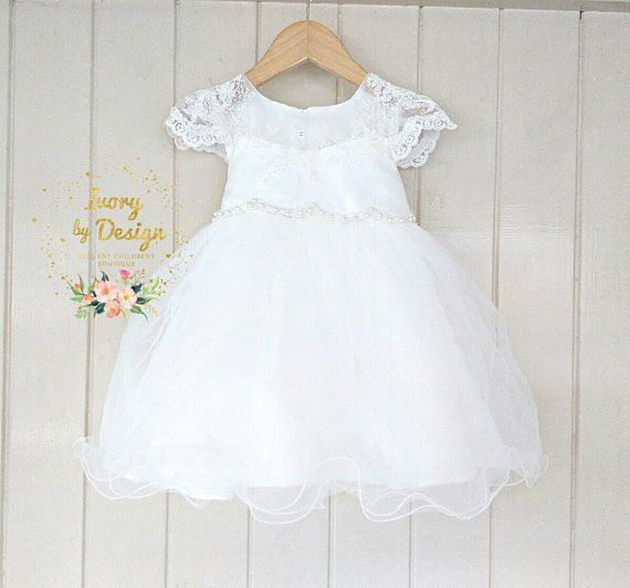 252d47f4cf6d6 Ivory soft White Lace baby Girls Christening Dress Baptism
