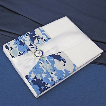 Military Wedding Guest Book with Blue Digital Camouflage