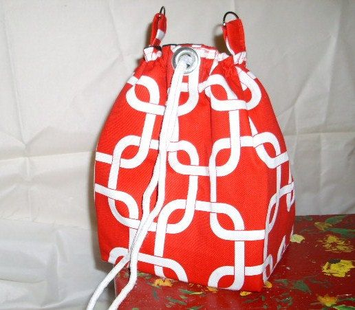 Drawstring Backpack Camera Pattern Shoulder Bags