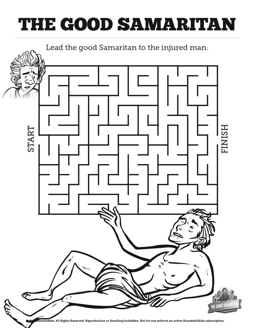 Good Samaritan Coloring Page New The Good Samaritan Bible Mazes
