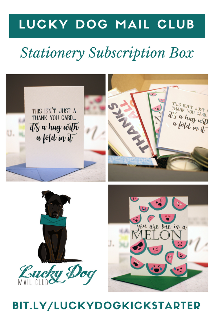 Finally, a box that mixes fun business and pleasure! Each box includes hand crafted thank you cards, matching envelopes, postage and products from other small businesses.