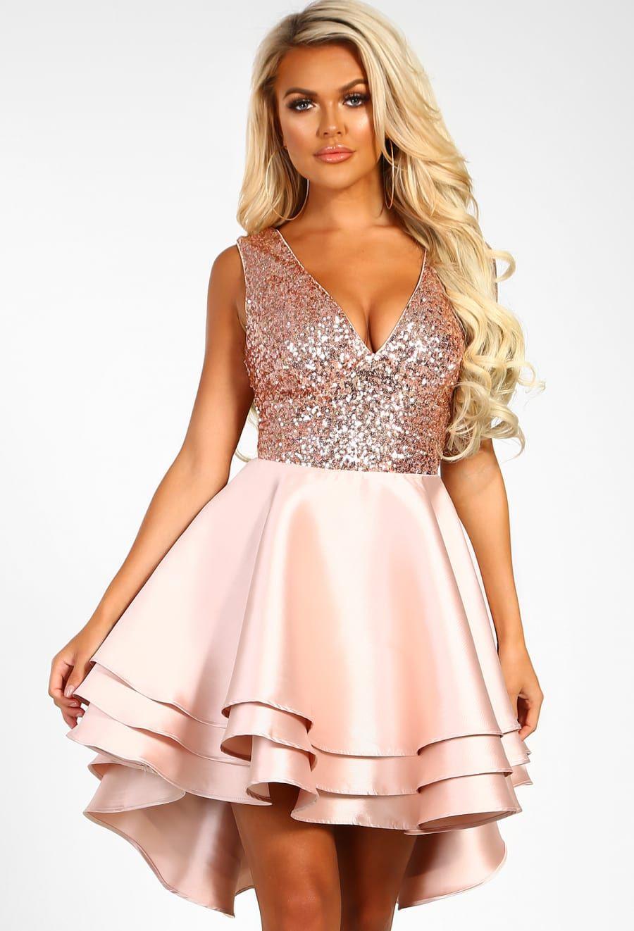 c19aa470c1 Heart Broken Rose Gold Sequin Multi Layer Skater Dress - 8