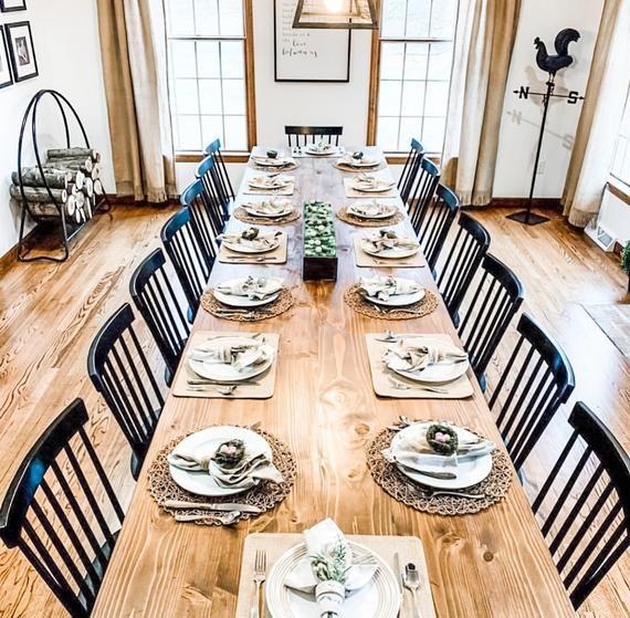 Large Farmhouse Table Long Farmhouse Table Kitchen Table | Etsy