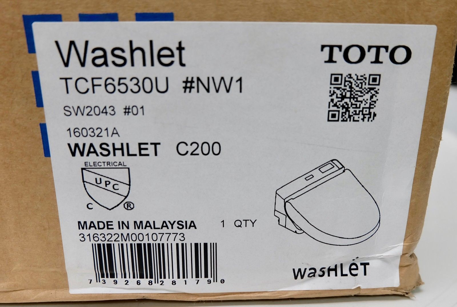 Toto Washlet TCF6530U Bidet Toilet Seat C200 SW204301