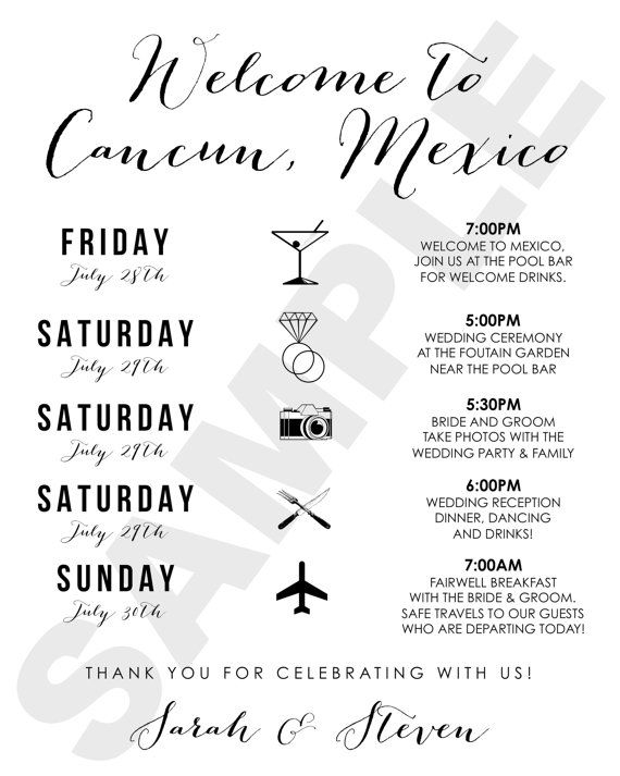Cancun Mexico Destination Wedding Welcome Bag Weekend Itinerary