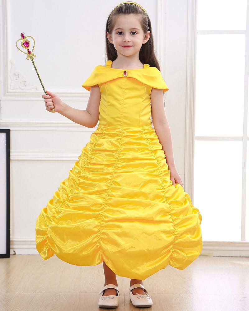 1299ff8b6e5 Girls Belle Princess Ruched Ball Gown kid Party Stage Play Costume –  FADCOVER