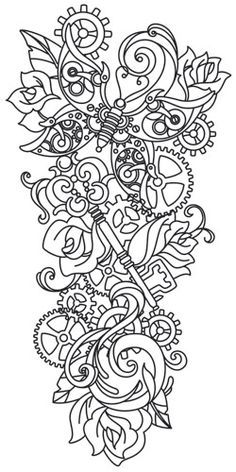 Steampunk Sleeve Steampunk Coloring Steampunk Tattoo Embroidery Designs