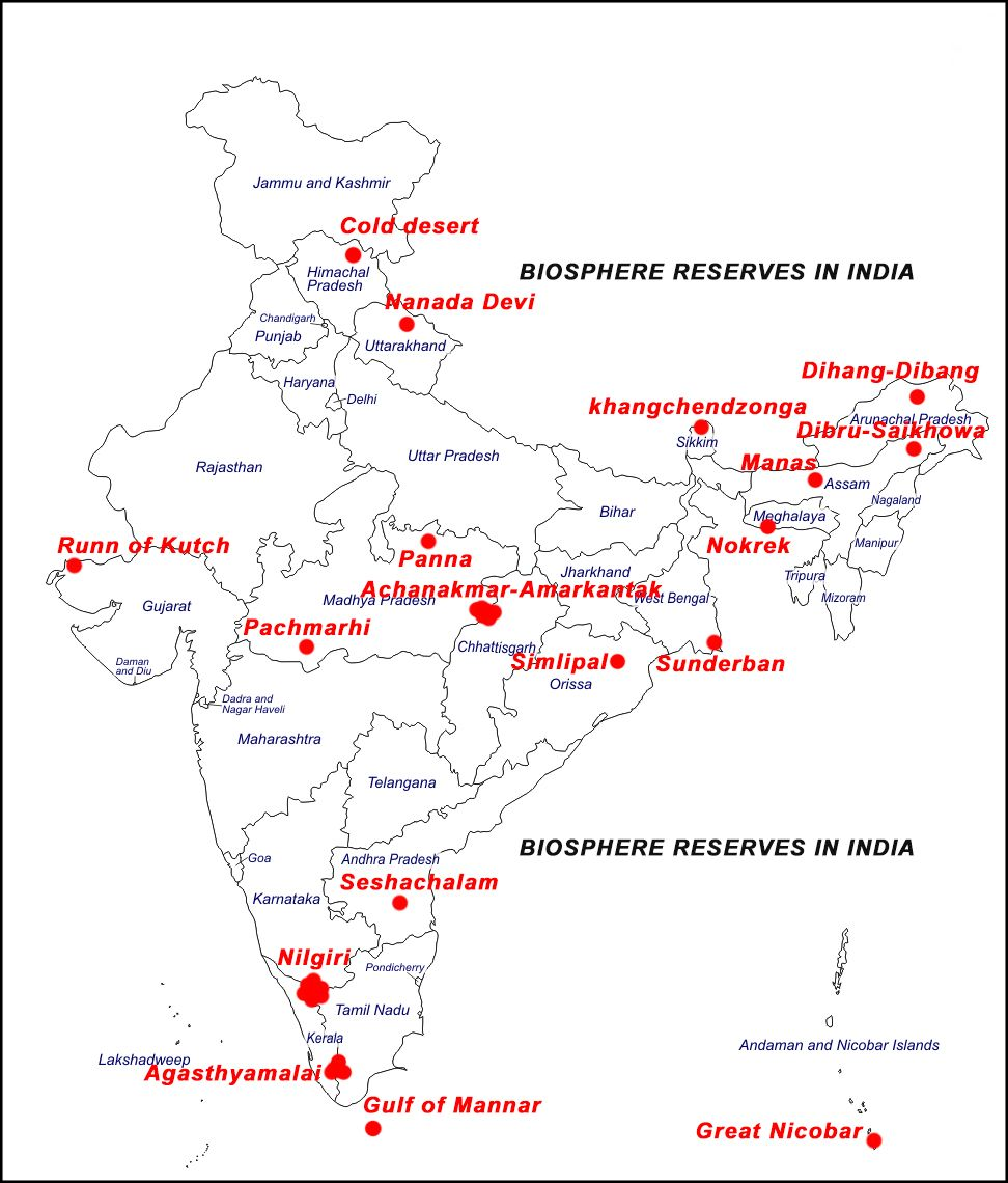 Biosphere Reserves in India with location | geography ... on nepal india, cities in india, taj mahal india, rivers in india, dharamsala india, kolkata india, mundra india, food in india, mysore india, map southeast asia, kerala india, west bengal india, physical map india, vizag india, goa india, jaisalmer india, shimla india, delhi india, chennai india, ganges river india,