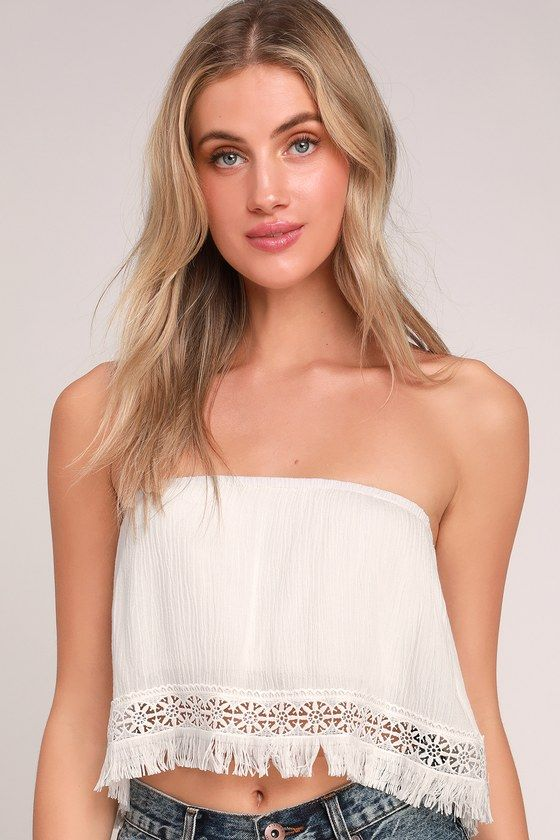 ca500e063ea Lulus | Californian White Fringe Strapless Crop Top | Size Large ...