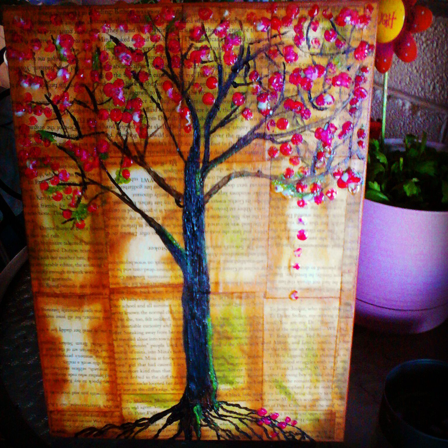 Canvas play. Pencil eraser blossoms. Book page back ground. Was really fun to make.