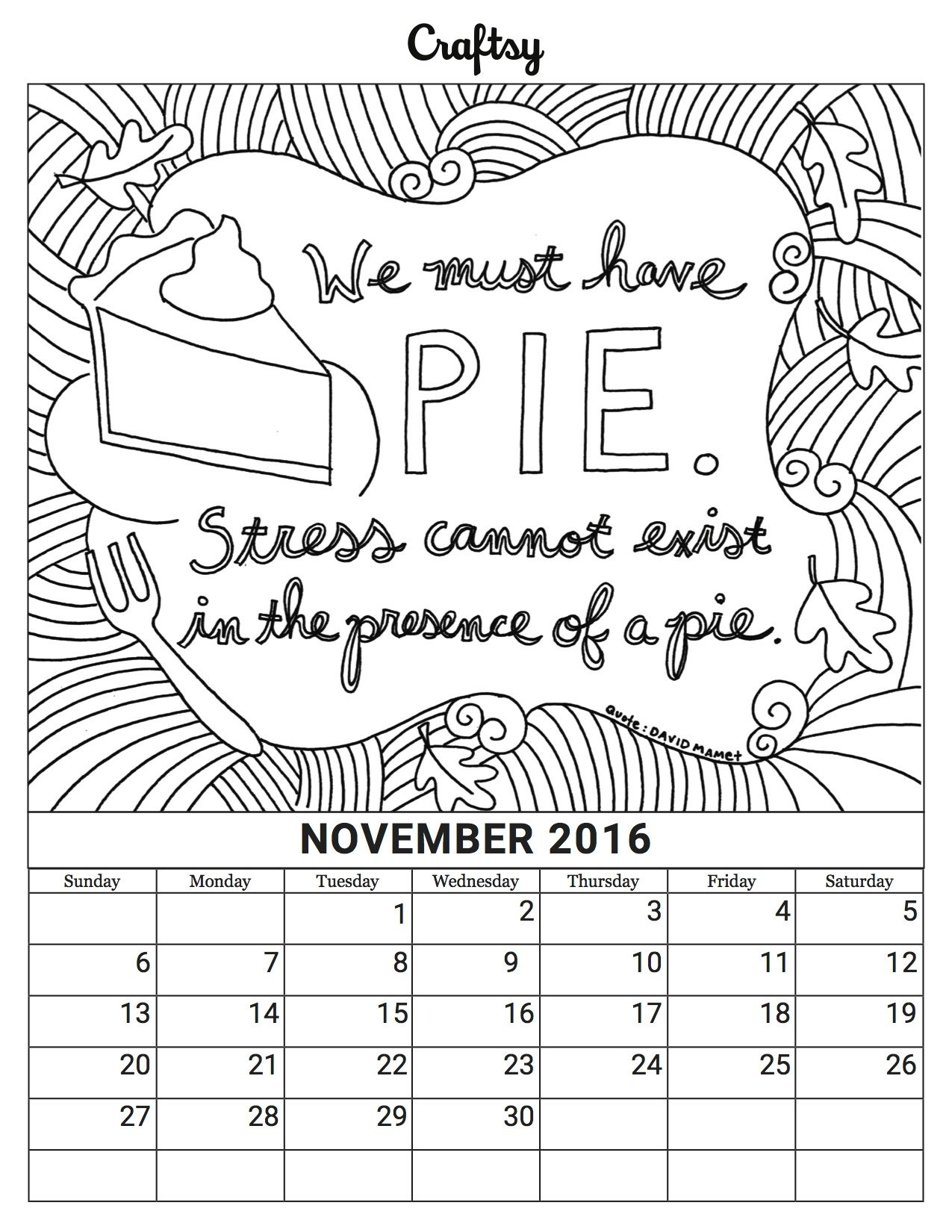 november coloring book calendar page - November Coloring Pages Free