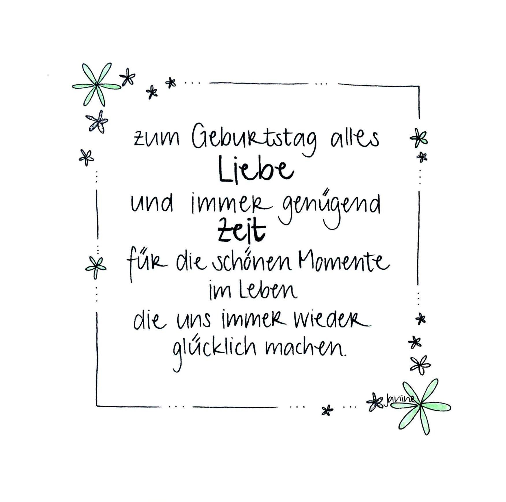 Handgemachte Geburtstagskarte Mit Blumenrand Und Glitzer Zum