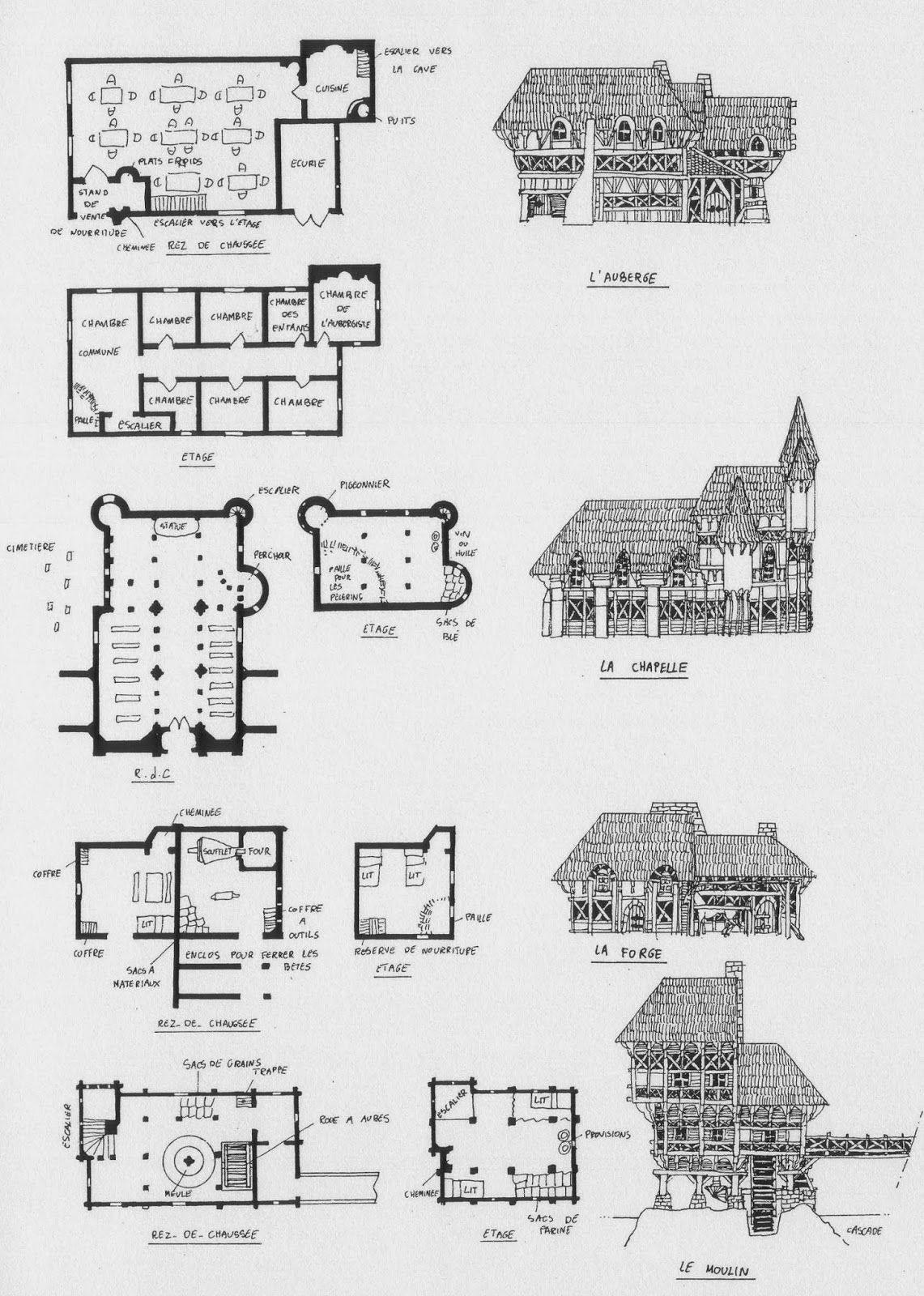 Medieval village architecture house home building map for Medieval home plans