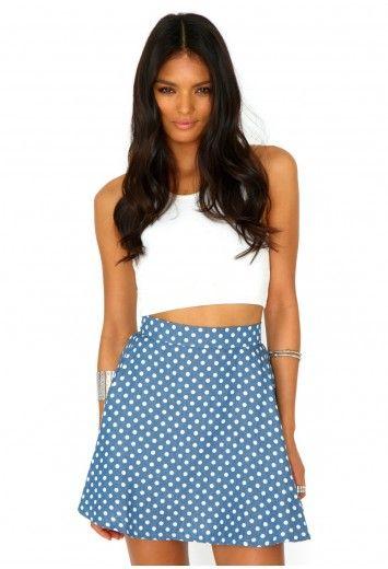 96122aa1ba Naeva Denim Polka Dot Skater Skirt - Skirts - Missguided   Want this ...