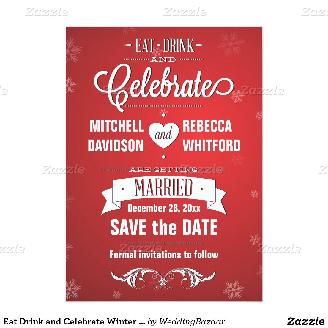 Eat Drink and Celebrate Winter Red Save the Date | Wedding: Winter ...