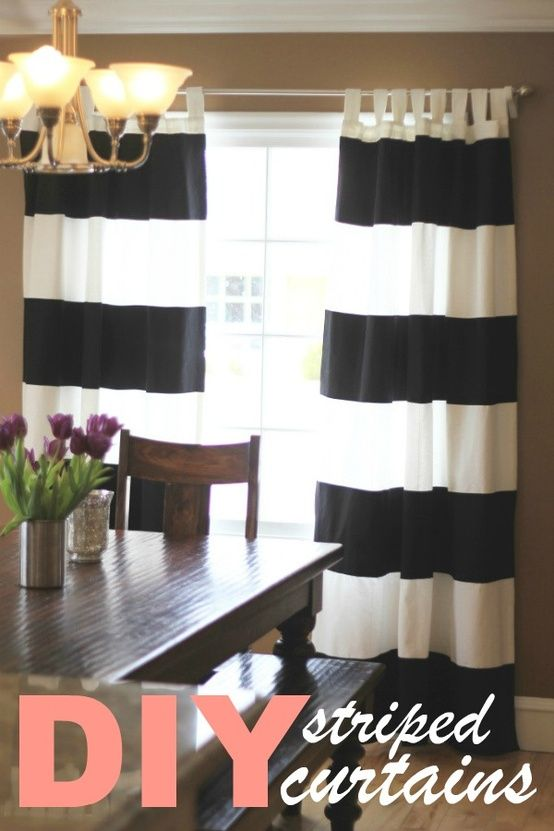 84 Inch Bold Black White Rugby Stripes Curtains Pair Panel Set