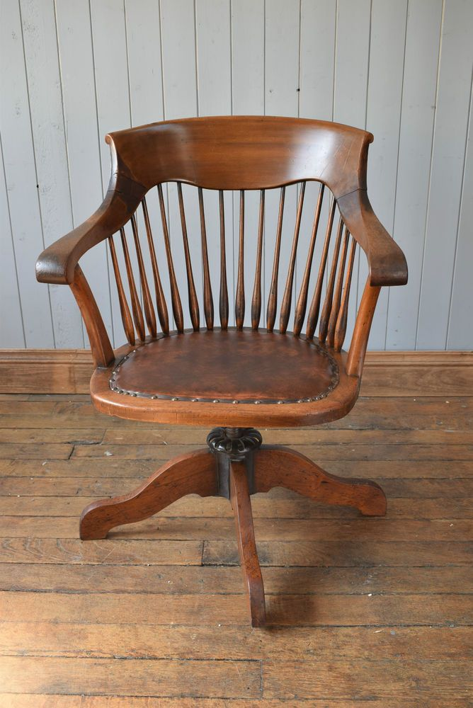 Antique Vintage Wooden Captain S Swivel Office Desk Chair