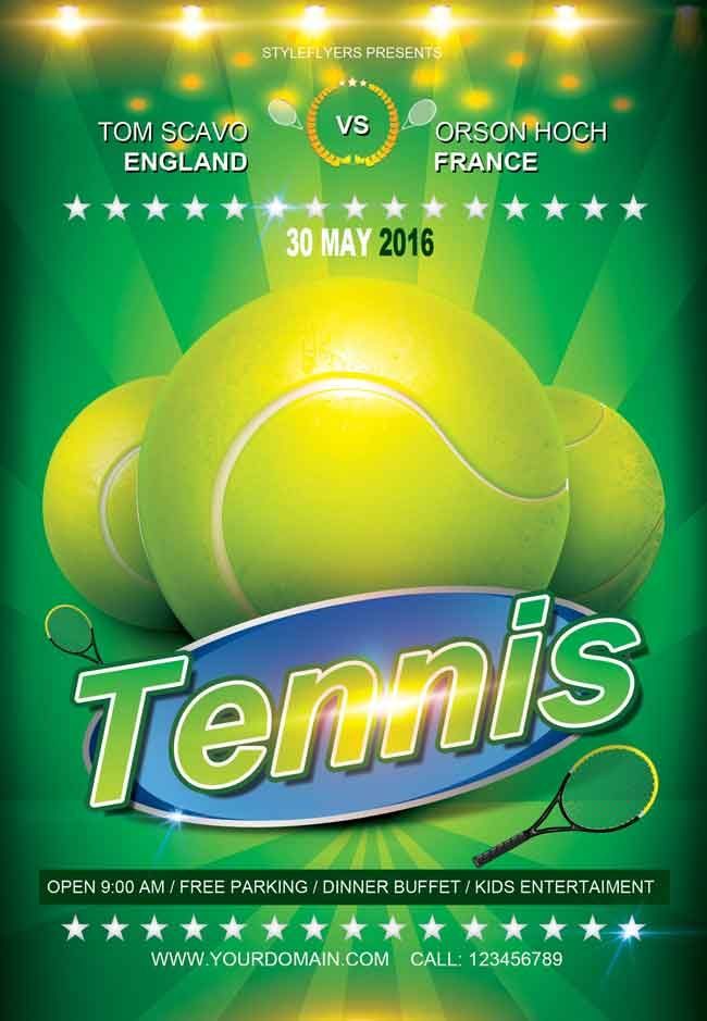 Free-Tennis-Flyer-PSD-TemplateTemplate-2016 DJ flyer Pinterest - tennis flyers templates free