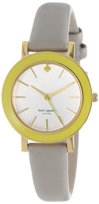 Kate Spade Watches Women's Citron Grey Enamel Bezel Metro Mini Watch