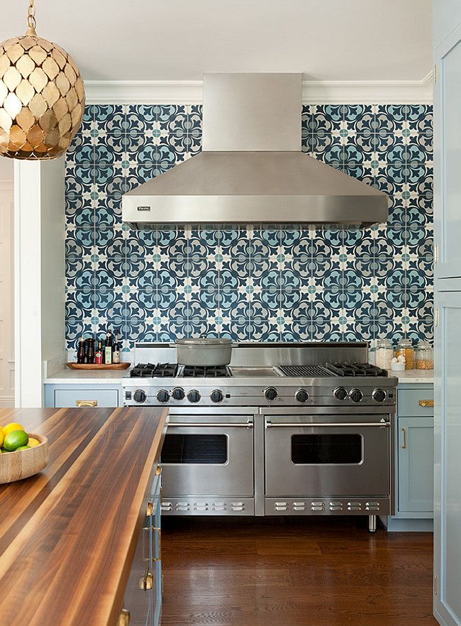 Blue Cement Tile Backsplash Design. Anna Burke Interiors.