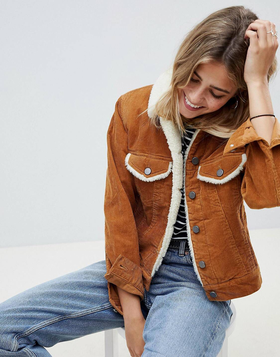 57fab690 DESIGN cord jacket with fleece collar in rust in 2019 | Fall ...